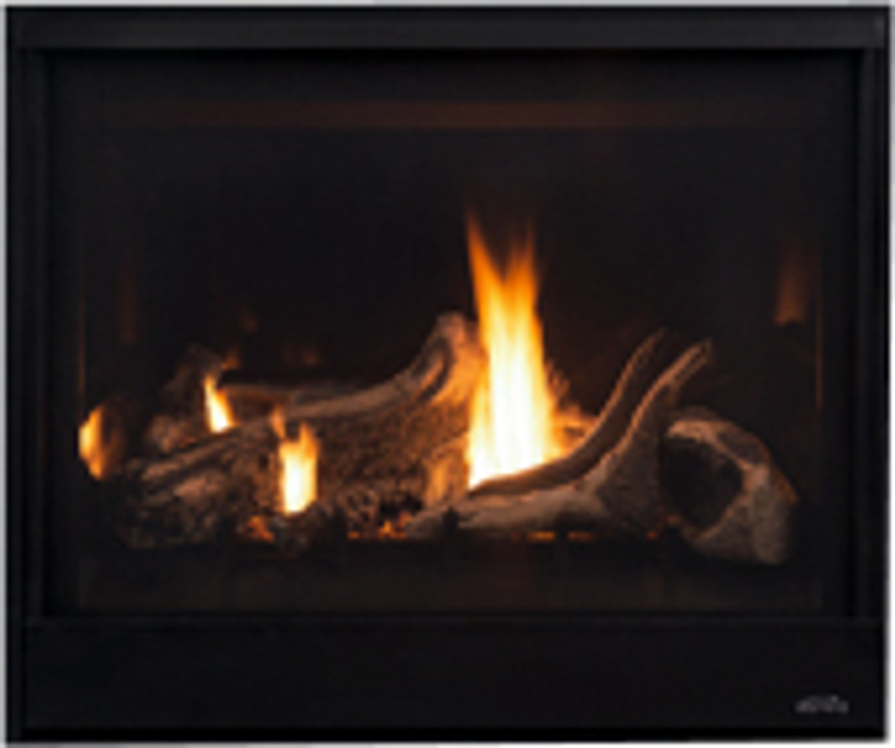 """35"""" Fireplace shown with Black porcelain Liner"""