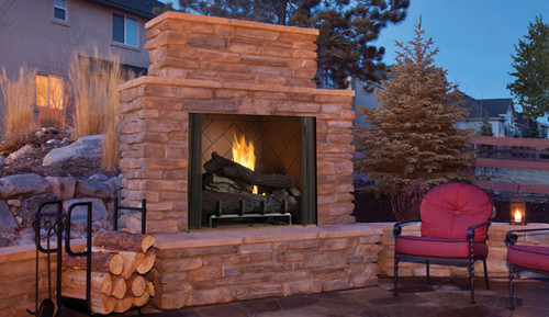 "Superior Mosaic Masonry 36"" Outdoor Vent-Free Fireplace - Warm Red/Ivory Full Stacked Brick"
