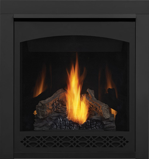 PHAZER Log Set, Decorative Front - Heritage, MIRRO-FLAME Porcelain Reflective Radiant Panels, 2 inch Trim Kit
