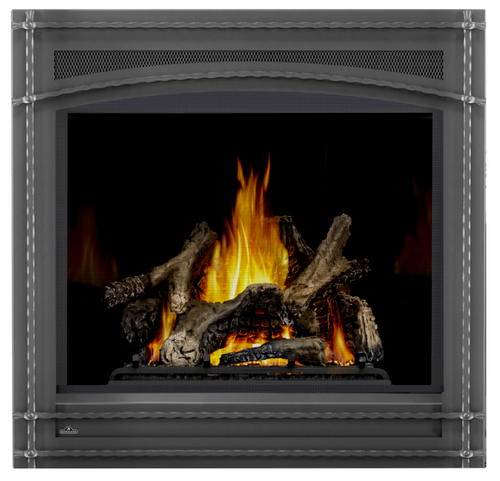 PHAZER Logs, MIRRO-FLAME Porcelain Reflective Radiant Panels, Wrought Iron Front