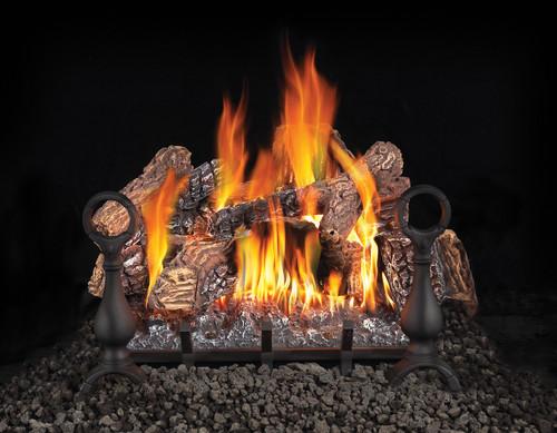 Fiberglow 18 Gas Log Set, Andirons & Cast Iron Grate