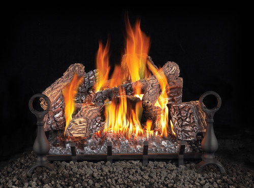 Fiberglow 24 Gas Log Set, Andirons & Cast Iron Grate