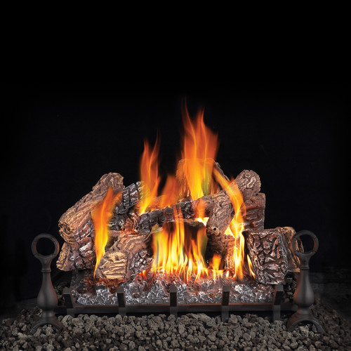 Napoleon Fiberglow 30 Gas Log Set, Andirons & Cast Iron Grate