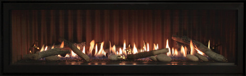 Empire Boulevard 48 inch Linear Direct Vent Fireplace - DVLL48, Shown with Ridgeback liner, Rustic Logs, Rocks and Stainless Coils