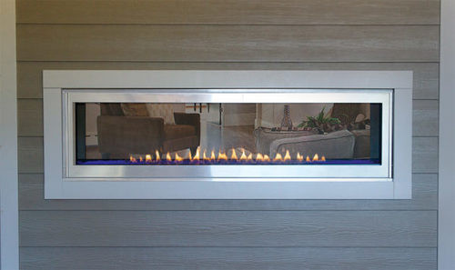 "Empire Boulevard Linear See-Through Vent Free Fireplace with Barriers 60"" - Intermittent Pilot Boulevard Linear See-Through VF Fireplace W/Barriers, 60-inch, IP with Thermostat Remote, LED Lighting, 40,000 Btu"