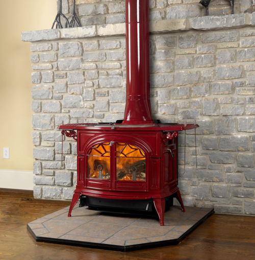Vermont Castings Defiant FlexBurn Stove - Shown in Bordeaux Red