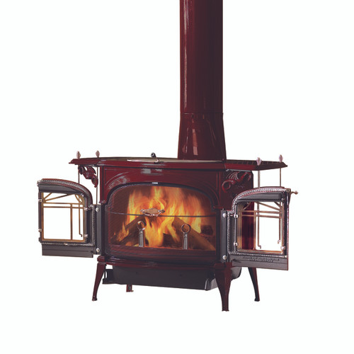 Vermont Castings Encore FlexBurn Wood Stove shown in Bordeaux