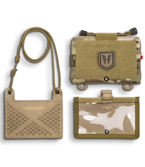 Includes pouch,  ID holder and hanging badge