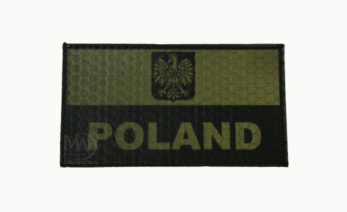 Poland Flag with Eagle and Name Reflective Patch
