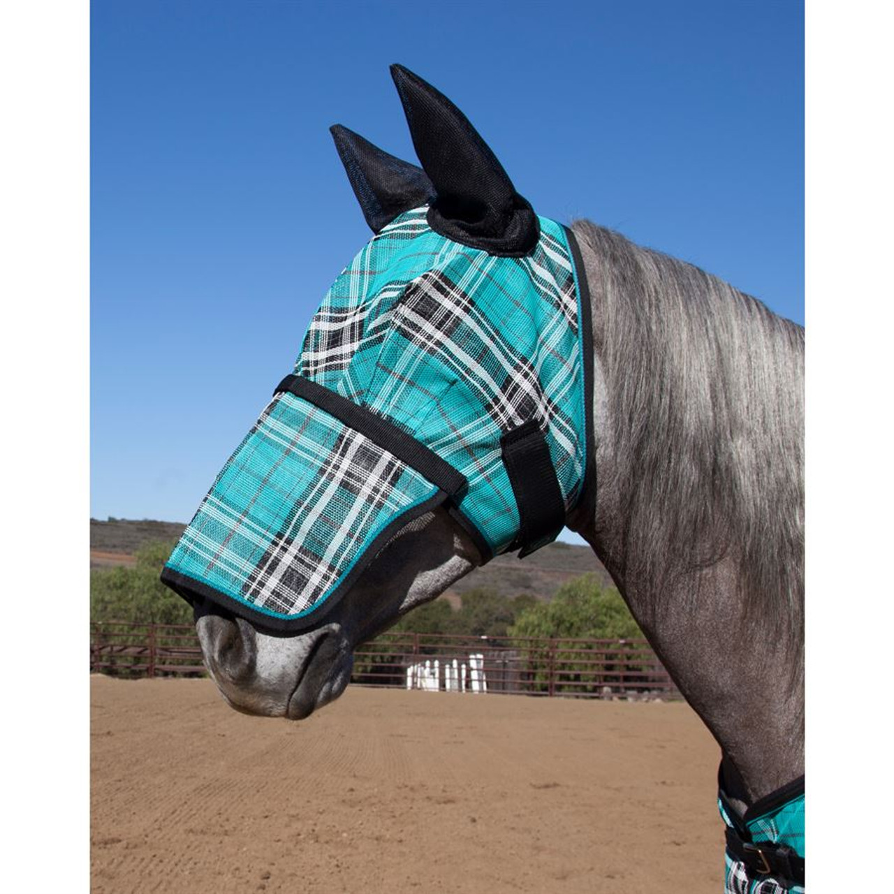 Kensington Fly Mask W Ears And Removable Nose Black Ice Do Trot In Tack Shop