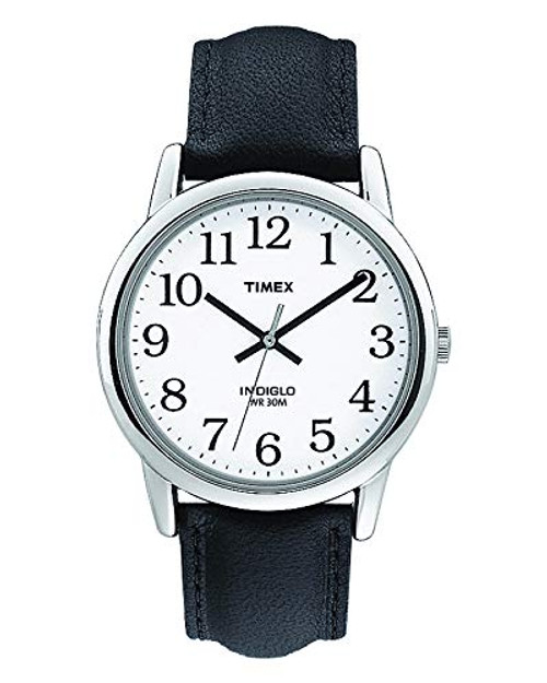 TIMEX GENTS Easy to read Classic BLACK LEATHER Strap WRISTWATCH T20501
