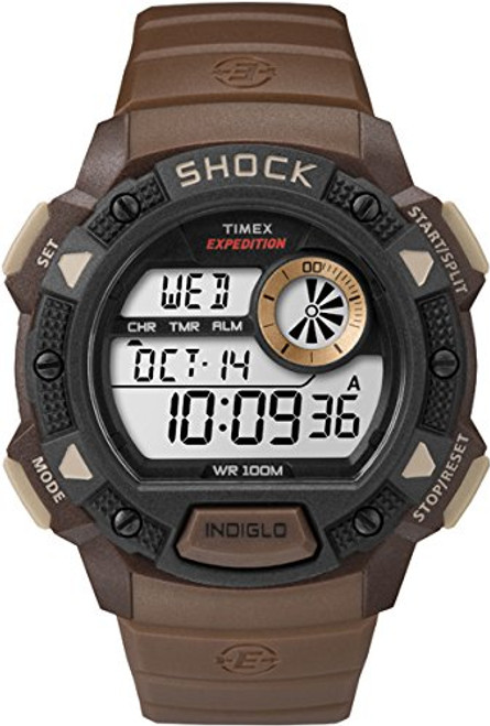 Timex T49975 Mens EXPEDITION BASE SHOCK Resistant CAT GREEN RESIN STRAP, Indiglo Night Light, 100m WR