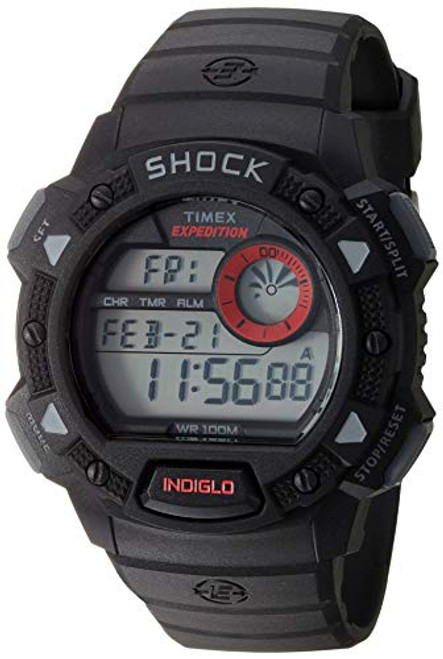 Timex T49977 Mens EXPPEDITION BASE SHOCK CAT BLACK RED ACCENT, Indiglo Night Light, 100m WR