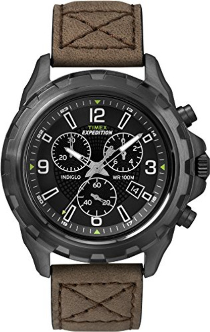 Timex T49986 Mens EXPEDITION RUGGED CHRONO BLACK DIAL BROWN STRAP, Indiglo Night Light, 100m WR