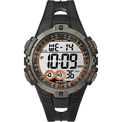 Timex T5K801 Mens MARATHON DIGTAL BLACK/ORANGE RESIN FULL SIZE, Indiglo Night Light, 50m WR