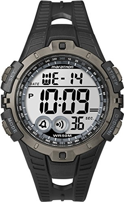 Timex T5K802 Mens MARATHON DIGTAL BLACK/GRAY RESIN FULL SIZE, Indiglo Night Light, 50m WR