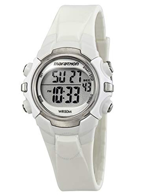 Timex T5K806 WOMENS MARATHON DIGITAL ALLWHITE RESIN MID SIZE, Indiglo Night Light, 50m WR