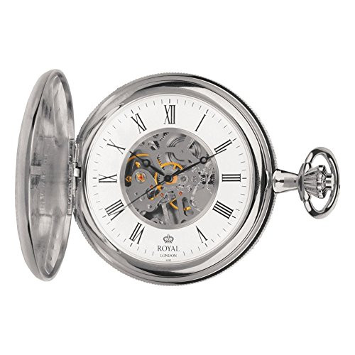 Stainless Steel Double Hunter Mechanical Pocket Watch