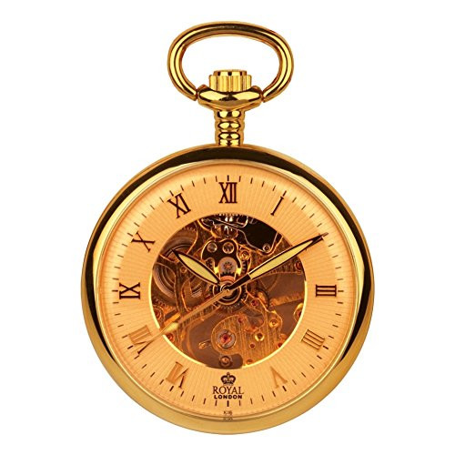 Pvd Gold Plated Open Face Mechanical Pocket Watch