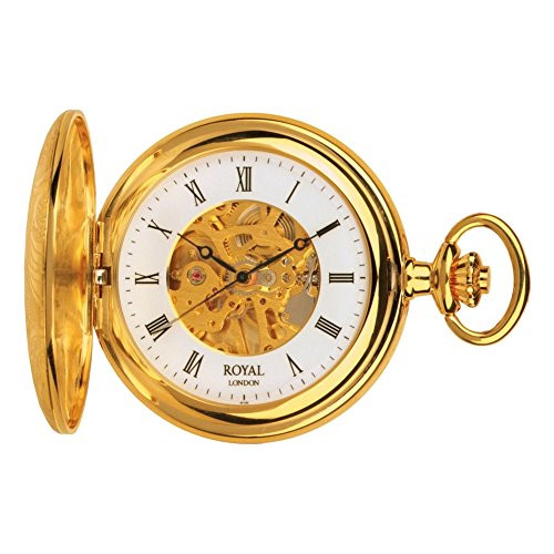 Pvd Gold Plated Half Hunter Mechanical Pocket Watch