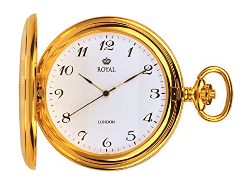 Gold Plated Full Hunter Quartz Pocket Watch