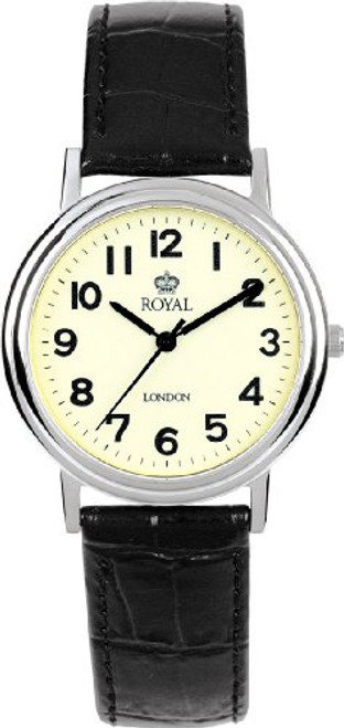 Royal London Men's Quartz Watch with Beige Dial Analogue Display and Black Leather Strap 40000-03