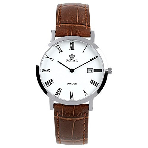 Gents Brown Stippled Leather Adjustable Strap Watch 40007-01