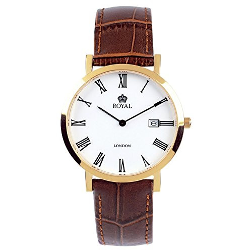 Gents Gold-plated Stainless Steel And Brown Leather Wristwatch 40007-02