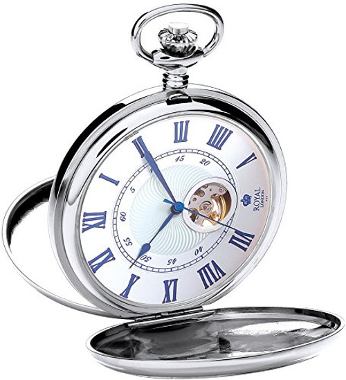 Royal London Men's Stainless Steel Mechanical Pocket Watch 90051-01