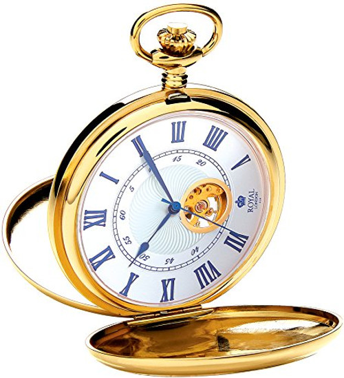 Royal London Men's Stainless Steel Mechanical Pocket Watch 90051-02