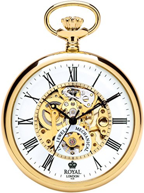 Royal London Men's Stainless Steel Mechanical Pocket Watch 90049-02