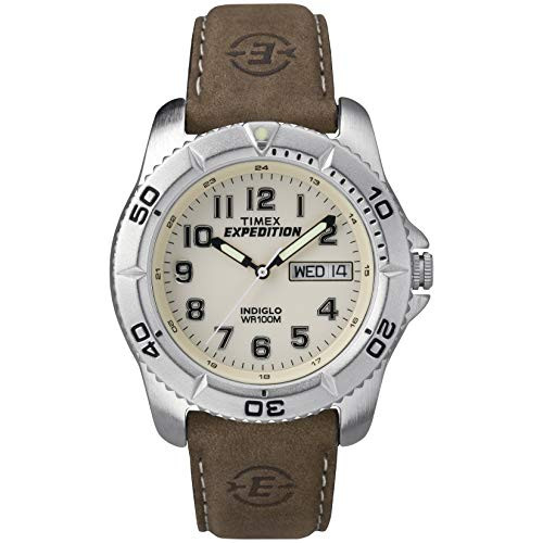 Timex Expedition Men's Quartz Watch with Off-White Dial Analogue Display and Brown Leather Strap - T46681