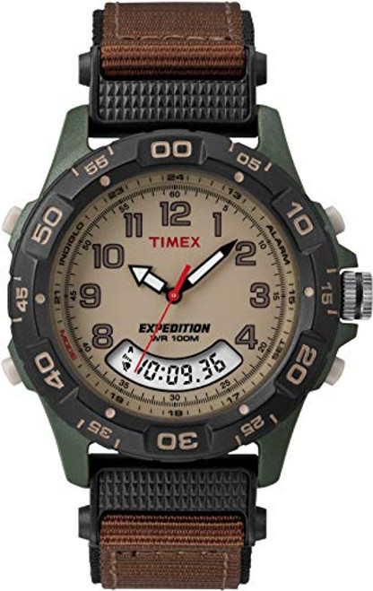 Timex Expedition Men's Quartz Watch with Beige Dial Analogue Display and Brown Textile Strap - T45181