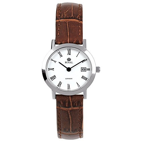 Ladies Classic Stainless Steel Brown Leather Quartz Wrist Watch 20007-01