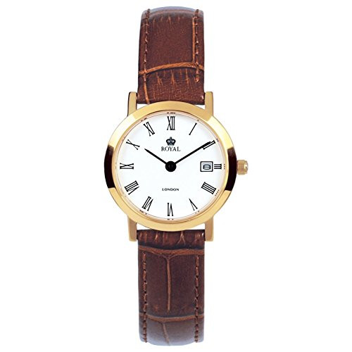 Ladies Classic Pvd Gold Plated Brown Leather Adjustable Strap Watch 20007-02