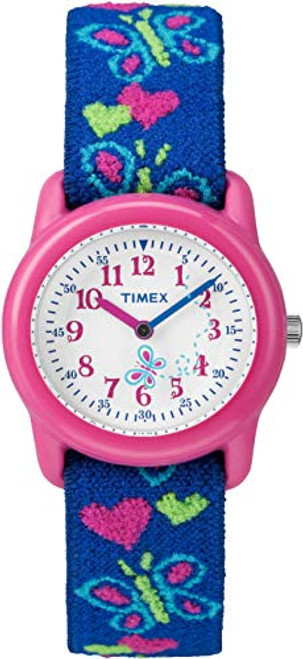 Timex Kids Children's Quartz Watch with White Dial Analogue Display and Blue Fabric Strap - T89001
