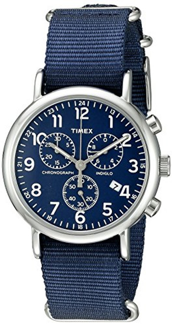 Timex Unisex TW2P71300 Weekend silver-tone case / Blue dial chrono / Blue slip-thru strap