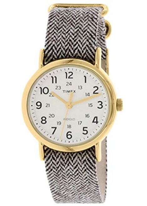 Timex Unisex TW2P71900 Weekend gold-tone case / Cream dial / Beige tweed slip-thru strap