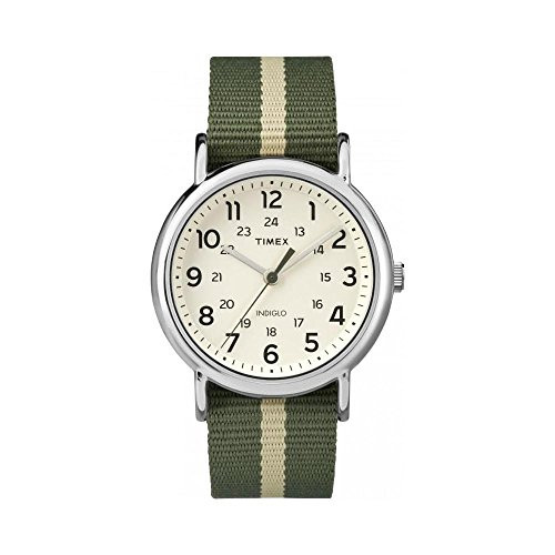 Timex Unisex TW2P72100 Weekend silver-tone case / Cream dial / Green with tan rev. stripe slip-thru strap