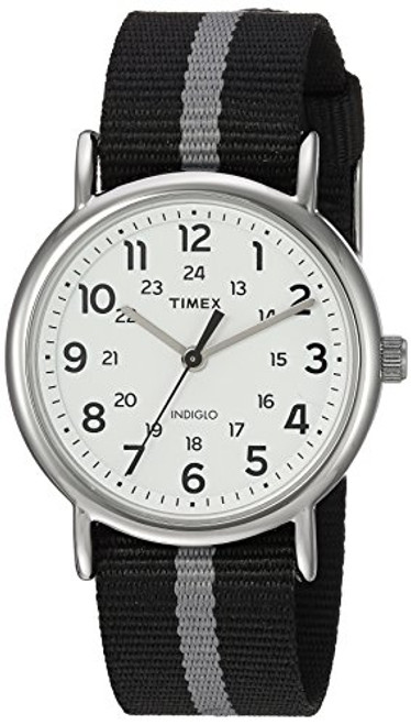 Timex Unisex TW2P72200 Weekend silver-tone case / White dial / Black with rev.  gray stripe slip-thru strap
