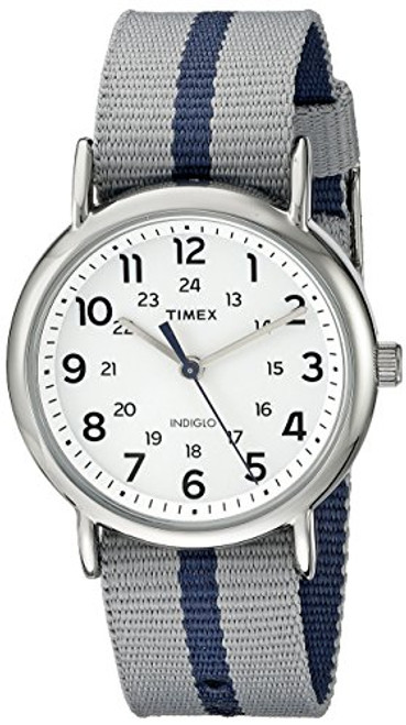 Timex Unisex TW2P72300 Weekend silver-tone case / White dial / Gray with rev. blue stripe slip-thru strap