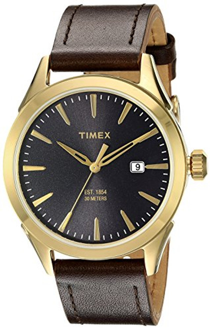 Timex Mens TW2P77500 MNS CHESAPEAKE SILVERTONE BRN STRAP BLK DIAL GOLDTONE ACCENTS