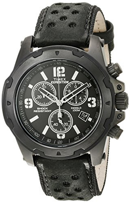 Timex Mens TW4B01400 Rugged Chrono Black Leather Strap - Black Dial