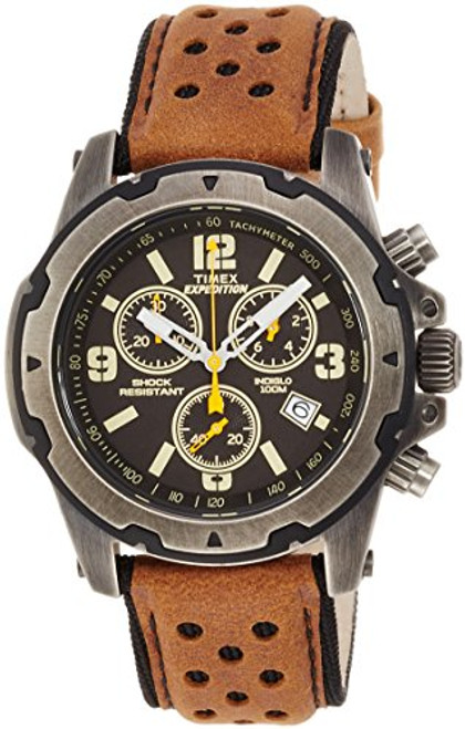 Timex Mens TW4B01500 Rugged Chrono Tan Leather Strap Natural Dial