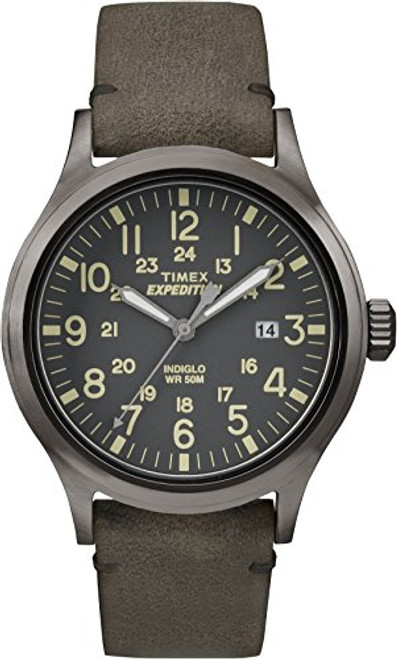 Timex Mens TW4B01700 EXPED METAL SCOUT BROWN LEATHER GRAY DIAL