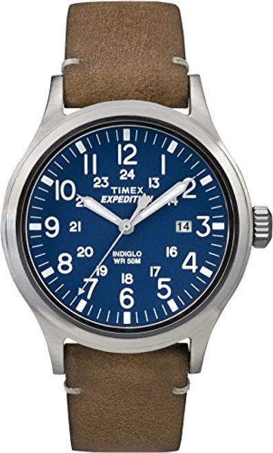 Timex Mens TW4B01800 EXPED METAL SCOUT TAN LEATHER BLUE DIAL
