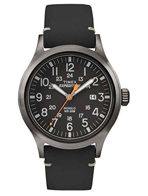 Timex Mens TW4B01900 EXPED METAL SCOUT BLACK LEATHER BLACK DIAL