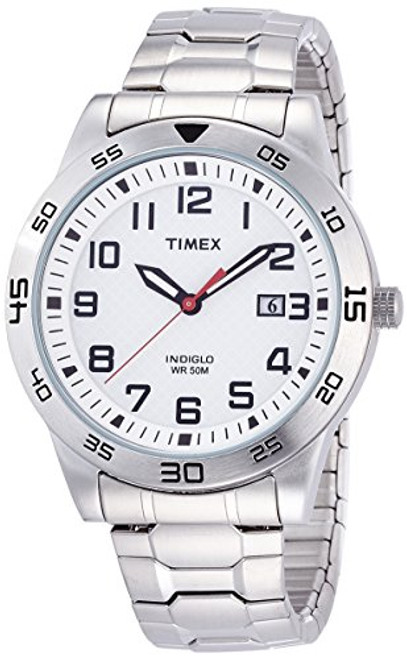 Timex Style TW2P61400 Men's ST Rd Case / White Dial with Date / SS  ST Expansion Band  Indiglo - Night Light