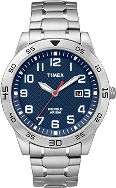 Timex Style TW2P61500 Men's ST Rd Case / Blue Dial with Date / SS  ST Expansion Band  Indiglo - Night Light