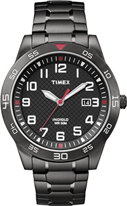 Timex Style TW2P61600 Men's Black Rd Case & Dial with Date / Black IP  Expansion Band  Indiglo - Night Light